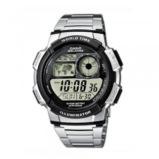 Casio AE-1000WD-1AVSDF Men's Digital World Time Steel Watch AE-1000WD-1AV