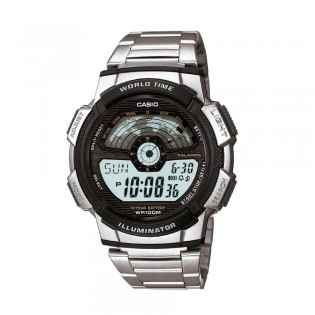 Casio AE-1100WD-1AVSDF Men's Digital World Time Steel Watch AE-1100WD-1AV