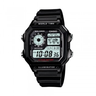 Casio AE-1200WH-1AVDF Men's Digital World Time Resin Watch AE-1200WH-1AV