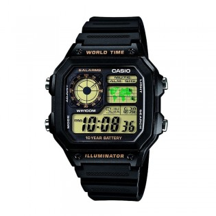 Casio AE-1200WH-1BVDF Men's Digital World Time Resin Watch AE-1200WH-1BV