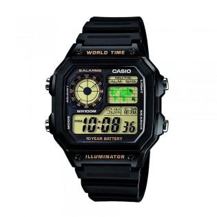 Casio AE-1200WH-1BVDF Men's Digital World Time Resin Watch AE-1200WH-1BV