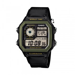 Casio AE-1200WHB-1BVDF Men's Digital World Time Nylon Strap Watch AE-1200WHB-1BV