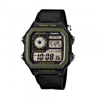 Casio AE-1200WHB-1BVDF Men's Digital World Time Nylon Strap Watch AE-1200WHB-1BV