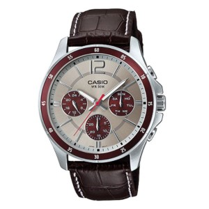 Casio MTP-1374L-7A1VDF Men's Multifunction Day Date Leather Watch MTP-1374L-7A1V