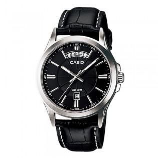 Casio MTP-1381L-1AVDF Men's Analog Day Date Steel Leather Watch MTP-1381L-1AV