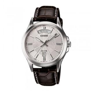 Casio MTP-1381L-7AVDF Men's Analog Day Date Steel Leather Watch MTP-1381L-7AV