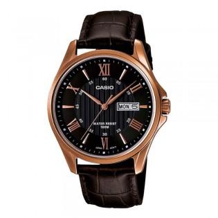 Casio MTP-1384L-1AVDF Men's Analog Day Date Steel Leather Watch MTP-1384L-1AV