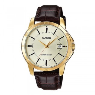 Casio MTP-V004GL-9AUDF Men's Analog Date Gold Plated Leather Watch MTP-V004GL-9A