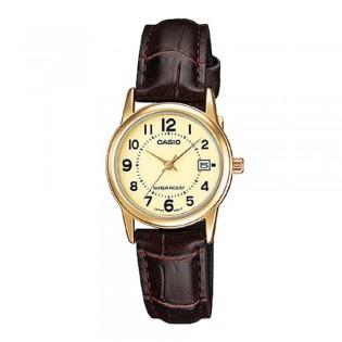Casio LTP-V002GL-9BUDF Women's Analog Date Leather Watch LTP-V002GL-9B