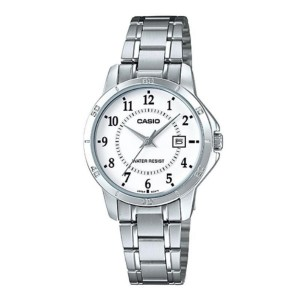 Casio LTP-V004D-7BUDF Women's Analog Date Steel Watch LTP-V004D-7B