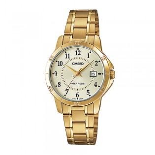 Casio LTP-V004G-9BUDF Women's Analog Date Gold Watch LTP-V004G-9B