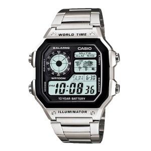 Casio AE-1200WHD-1AVDF Men's Digital World Time Steel Watch AE-1200WHD-1AV