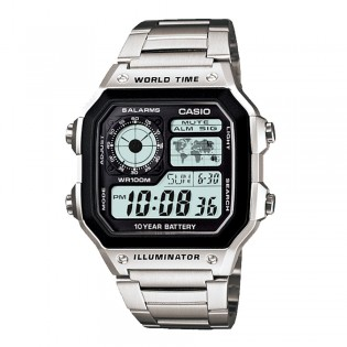 Casio AE-1200WHD-1AVDF Men's Digital World Time Steel Watch AE-1200WHD-1AV