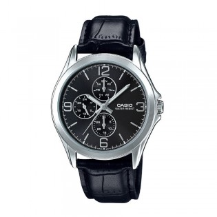 Casio MTP-V301L-1AUDF Men's Analog Day Date Leather Watch MTP-V301L-1A