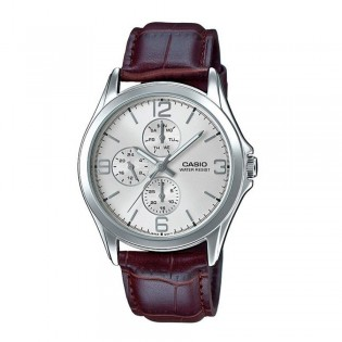 Casio MTP-V301L-7AUDF Men's Analog Day Date Leather Watch MTP-V301L-7A