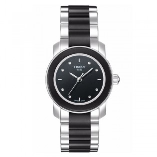 Tissot T064.210.22.056.00 Women's Cera Quartz Diamond Black Ceramic Bracelet Watch