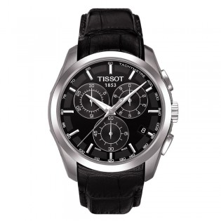 Tissot T035.617.16.051.00 Men's Couturier Chronograph Black Leather Watch