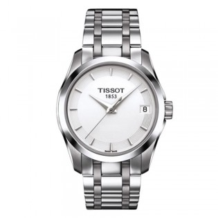 Tissot T035.210.11.011.00 Women's Couturier Quartz Stainless Steel Watch (White)