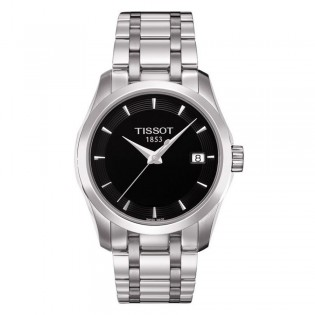 Tissot T035.210.11.051.00 Women's Couturier Quartz Stainless Steel Watch (Black)