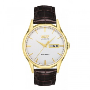 Tissot T019.430.36.031.01 Men's Heritage Visodate Automatic Day Date Leather Watch (Gold)
