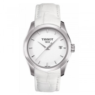 Tissot T035.210.16.011.00 Women's Couturier Lady Quartz Leather Watch (White)