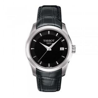 Tissot T035.210.16.051.00 Women's Couturier Lady Quartz Leather Watch (Black)