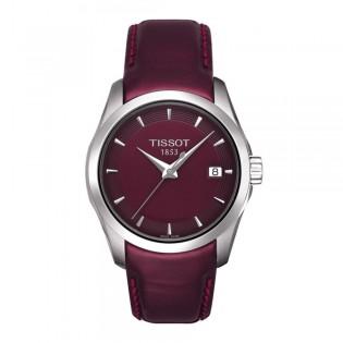 Tissot T035.210.16.371.00 Women's Couturier Lady Quartz Leather Watch (Maroon)