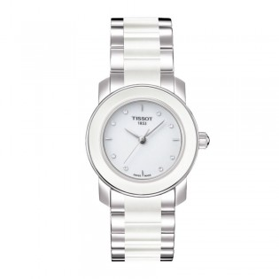 Tissot T064.210.22.016.00 Women's Cera Quartz Ceramic Bracelet Watch (White)