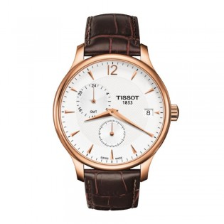 Tissot T063.639.36.037.00 Men's Tradition GMT Dual Time Leather Watch (Rose Gold)