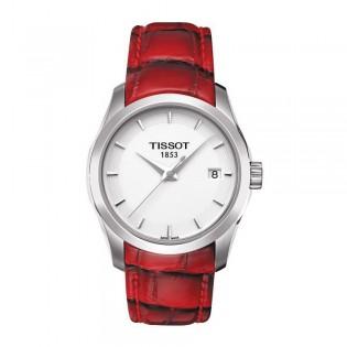 Tissot T035.210.16.011.01 Women's Couturier Lady Quartz Leather Watch (Red)