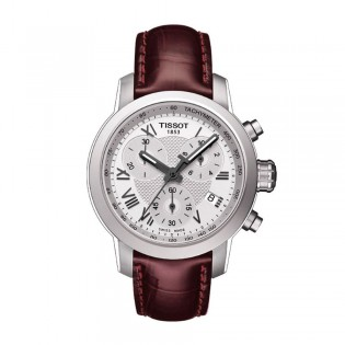 Tissot T055.217.16.033.01 Women's PRC 200 Chronograph Leather Watch (Red)