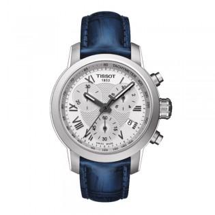 Tissot T055.217.16.033.00 Women's PRC 200 Chronograph Leather Watch (Blue)