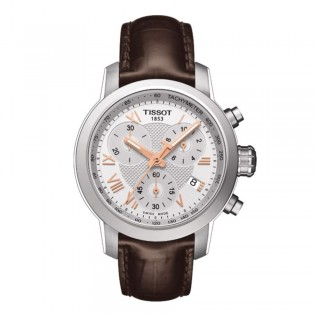 Tissot T055.217.16.033.02 Women's PRC 200 Chronograph Leather Watch (Brown)