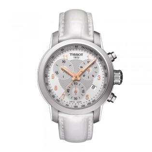 Tissot T055.217.16.032.01 Women's PRC 200 Chronograph Leather Watch (White)