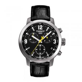 Tissot T055.417.16.057.00 Men's PRC 200 Chronograph Leather Watch (Black)