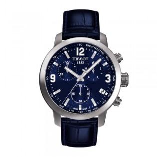 Tissot T055.417.16.047.00 Men's PRC 200 Chronograph Leather Watch (Blue)