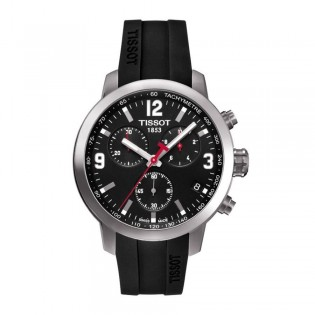 Tissot T055.417.17.057.00 Men's PRC 200 Chronograph Rubber Strap Watch (Black)