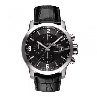 Tissot T055.427.16.057.00 Men's PRC 200 Automatic Chronograph Leather Strap Watch (Black)