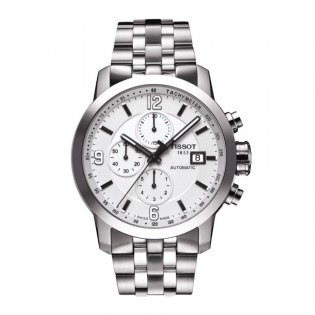 Tissot T055.427.11.017.00 Men's PRC 200 Automatic Chronograph Steel Watch (White)