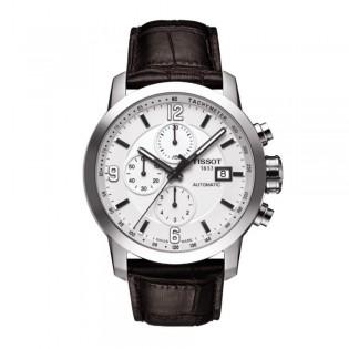 Tissot T055.427.16.017.00 Men's PRC 200 Automatic Chronograph Leather Watch (White)