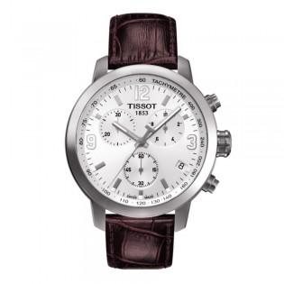 Tissot T055.417.16.017.01 Men's PRC 200 Chronograph Quartz Leather Watch (Brown)