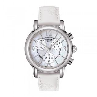 Tissot T050.217.17.117.00 Women's Dressport Chronograph Leather Strap Watch (White)