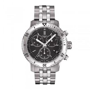 Tissot T067.417.11.051.01 Men's PRS 200 Chronograph Steel Watch (Black)