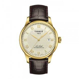 Tissot T006.407.36.263.00 Men's Le Locle Powermatic 80 Leather Watch (Gold)