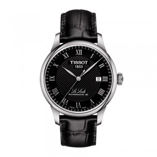 Tissot T006.407.16.053.00 Men's Le Locle Powermatic 80 Leather Watch (Black)