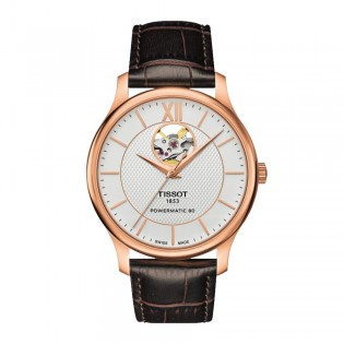 Tissot T063.907.36.038.00 Men's Tradition Powermatic 80 Leather Strap Watch