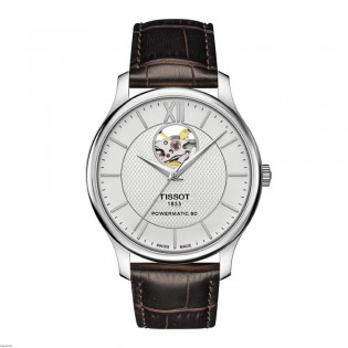 Tissot T063.907.16.038.00 Men's Tradition Powermatic 80 Leather Strap Watch