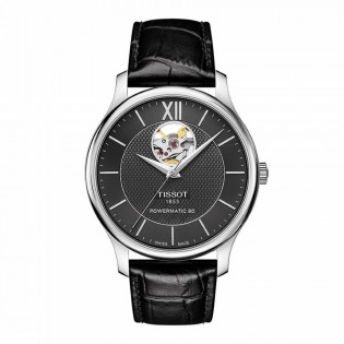 Tissot T063.907.16.058.00 Men's Tradition Powermatic 80 Leather Strap Watch