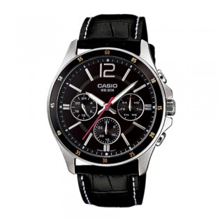 Casio MTP-1374L-1AVDF Men's Enticer Multifunction Leather Strap Watch MTP-1374L-1AV