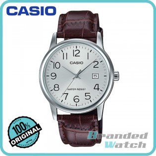 Casio MTP-V002L-7B2UDF Men's Quartz Analog Date Leather Watch MTP-V002L-7B2
